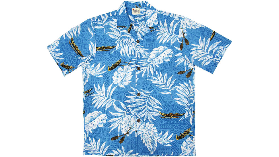 Poly-Cotton Blue Aloha Shirt [T-05]