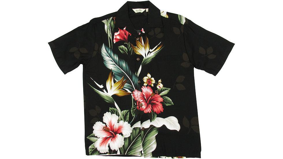 Rayon 100% Black Side Panel Aloha Shirt [RH-08]