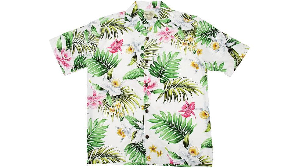 Rayon 100% White Aloha Shirt [RH-09]