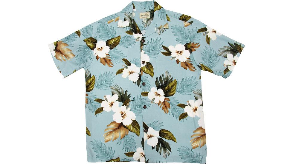 Rayon 100% Blue Aloha Shirt [RH-03]