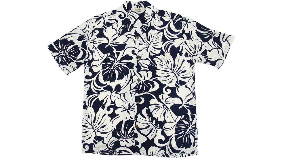 Rayon 100% Navy Aloha Shirt [RH-10]