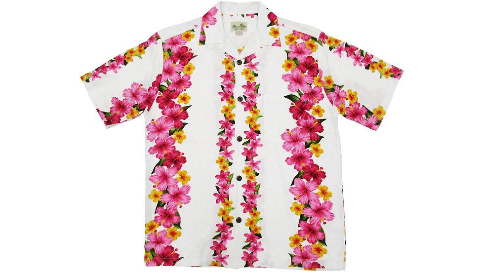 Rayon 100% White Hibiscus Aloha Shirt [RH-02]