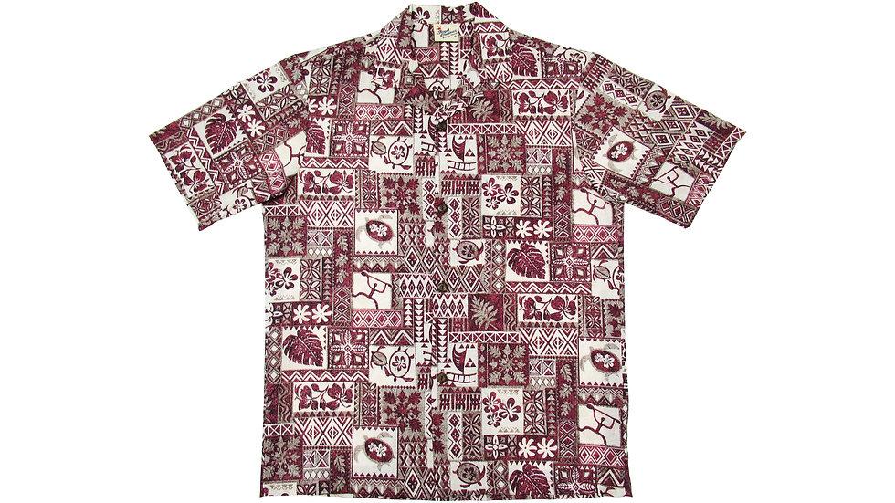 Poly-Cotton Red Aloha Shirt [T-02]