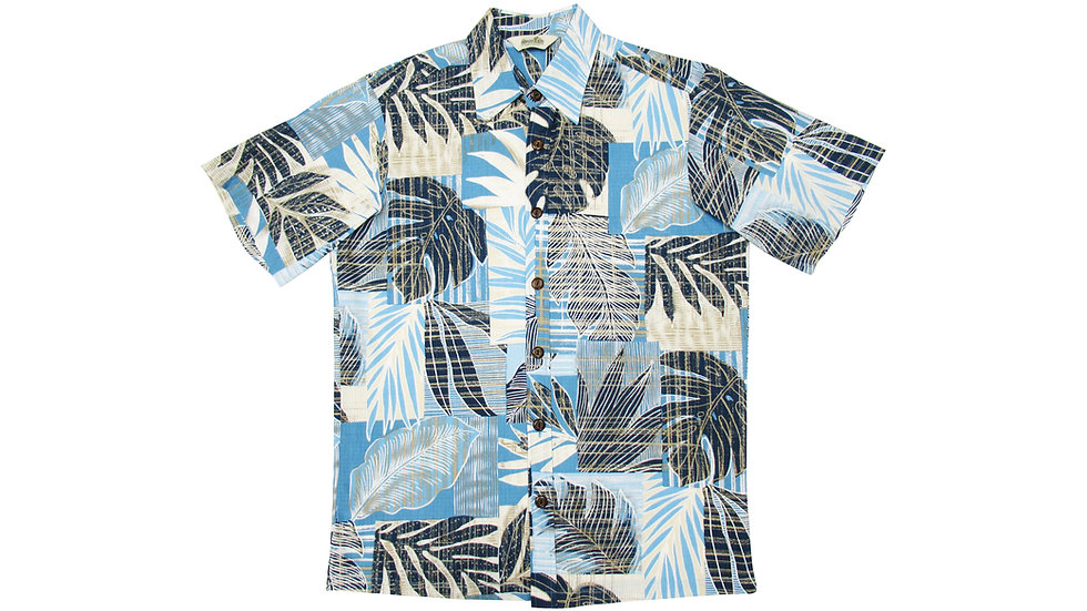 Y-Placket Cotton 100% Blue Aloha Shirt [YH-07]