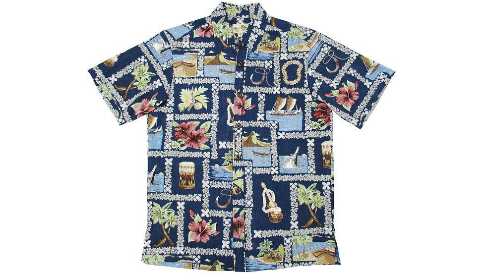 Y-Placket Cotton 100% Navy Aloha Shirt [YH-05]