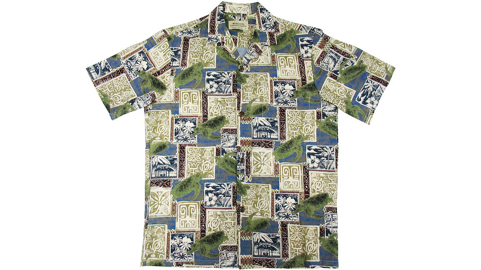 Cotton 100% Green Aloha Shirt [CH-07]