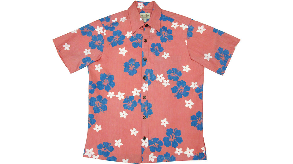 Y-Placket Cotton 100% Coral Aloha Shirt [YH-09]