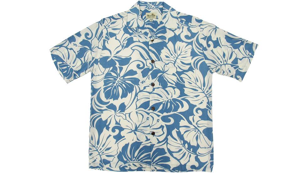 Rayon 100% Blue Aloha Shirt [RH-10]