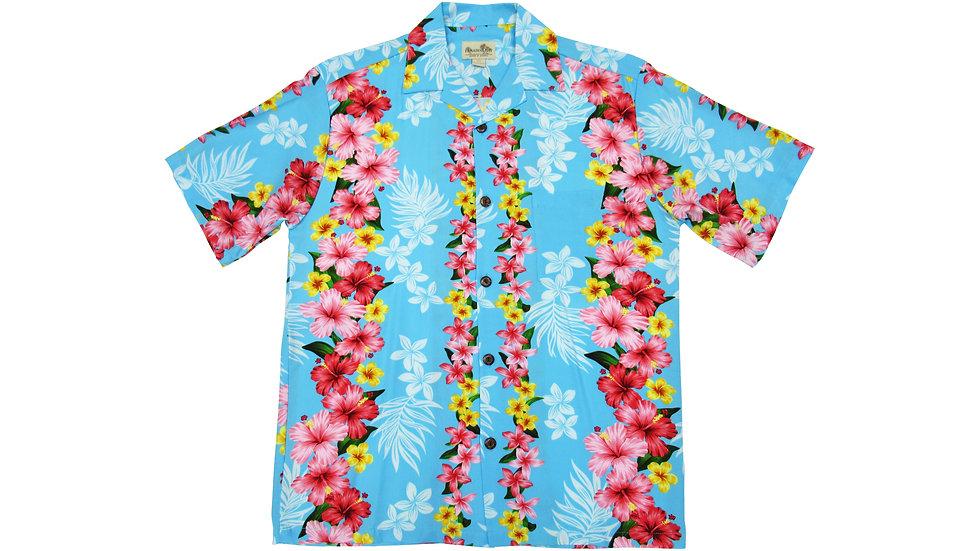 Rayon 100% Blue Hibiscus Aloha Shirt [RH-02]