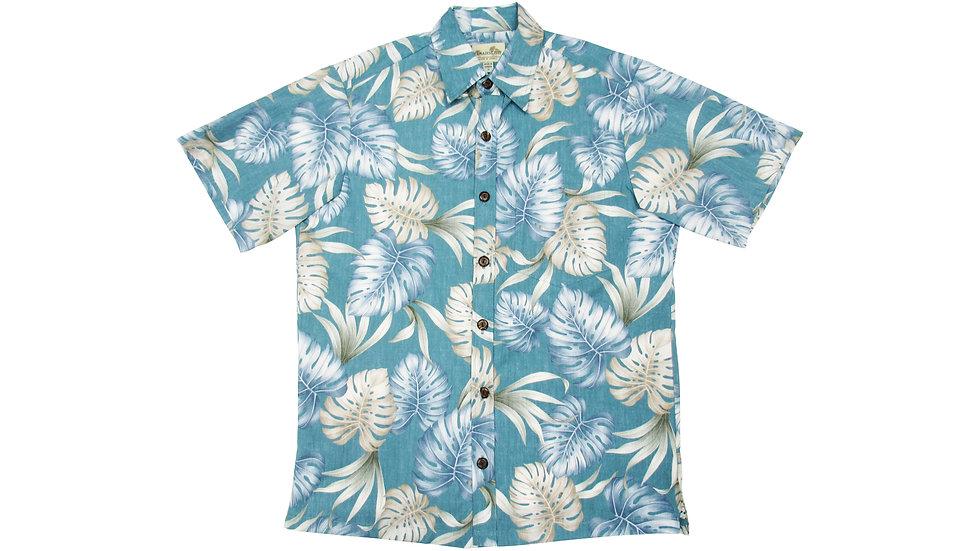 Y-Placket Cotton 100% Teal Aloha Shirt [YH-06]