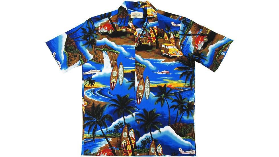 Cotton 100% Blue Waikiki Aloha Shirt [CH-09]