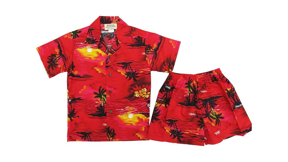 Cotton 100% Palm Tree Boy's Cabana Set [#32106]