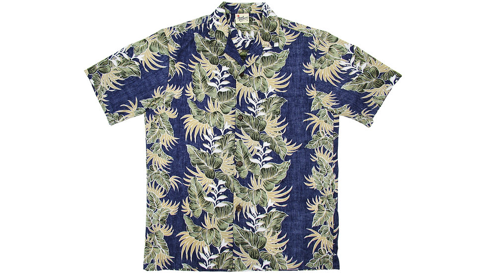 Poly-Cotton Navy Aloha Shirt [T-04]