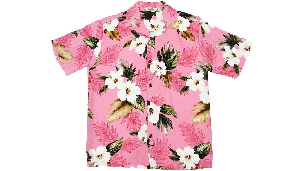 Rayon 100% Pink Aloha Shirt [RH-03]