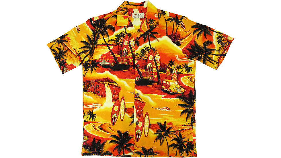 Cotton 100% Yellow Waikiki Aloha Shirt [CH-09]