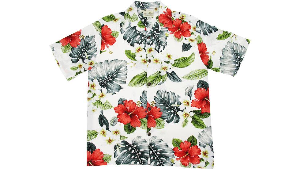Rayon 100% White Aloha Shirt [RH-11]