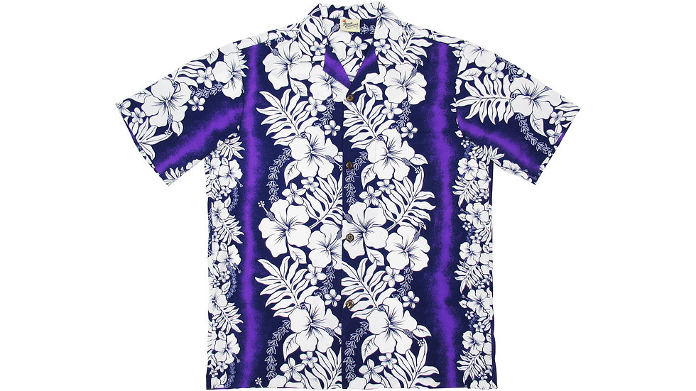 Poly-Cotton Purple Aloha Shirt [T-01]