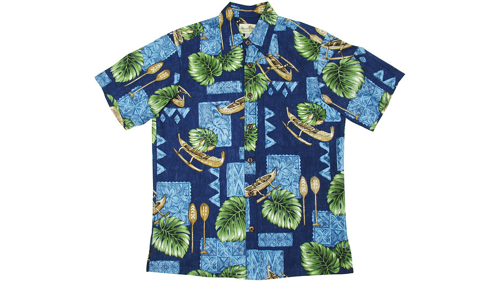 Y- Placket Cotton 100% Navy Aloha Shirt [YH-08]