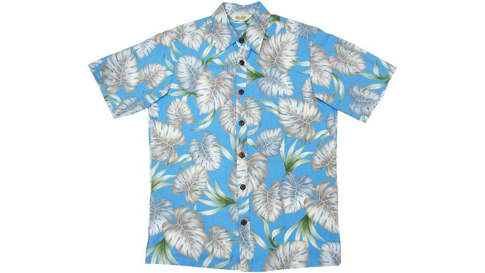 Y-Placket Cotton 100% Blue Aloha Shirt [YH-06]