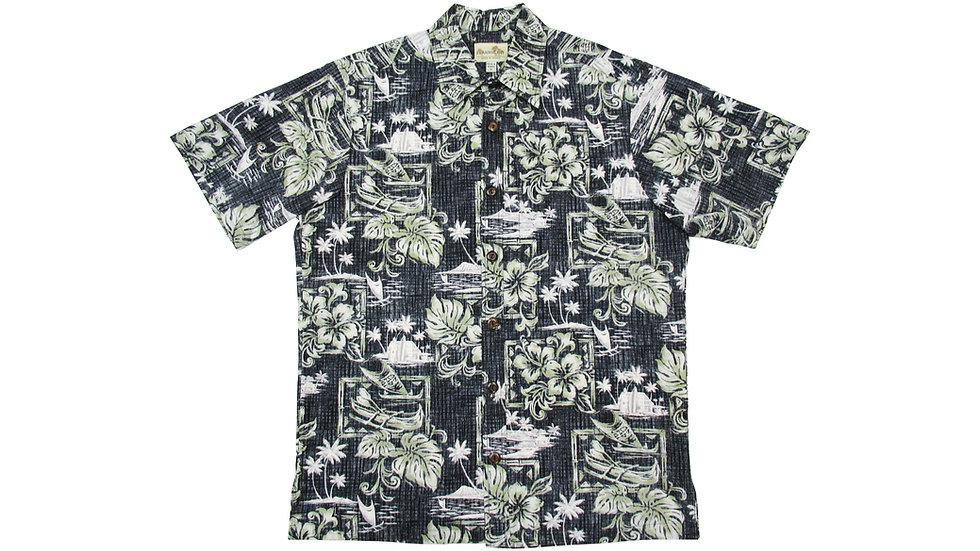 Y-Placket Cotton 100% Black Aloha Shirt [YH-04]