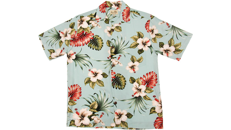 Rayon 100% Blue Aloha Shirt [RH-05]