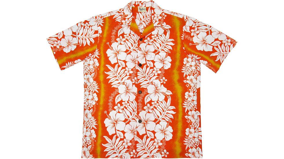 Poly-Cotton Orange Aloha Shirt [T-01]