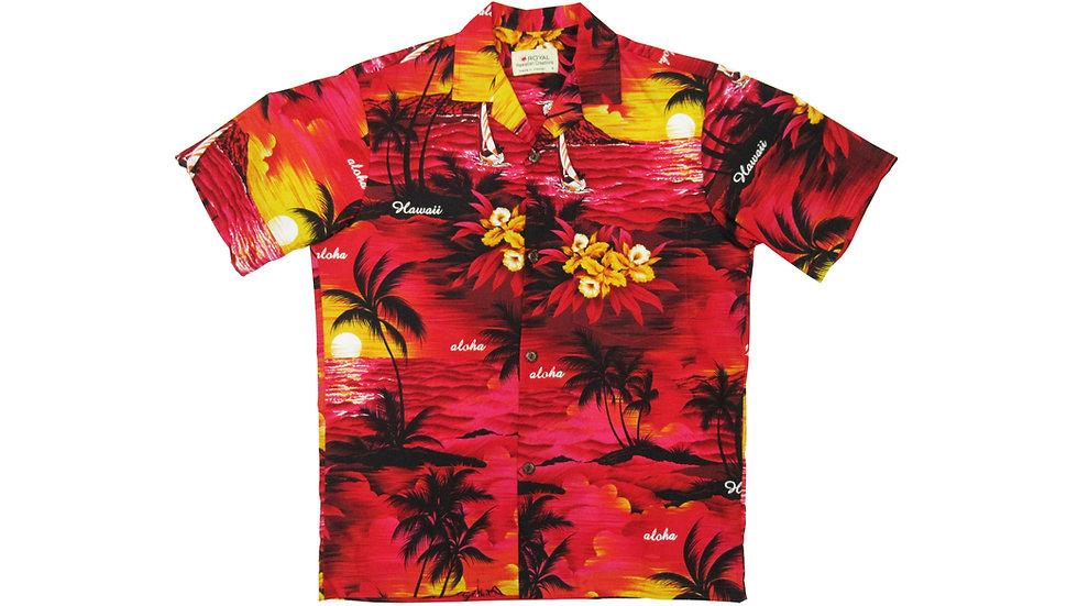 Cotton 100% Red Palm Tree Aloha Shirt [CH-11]