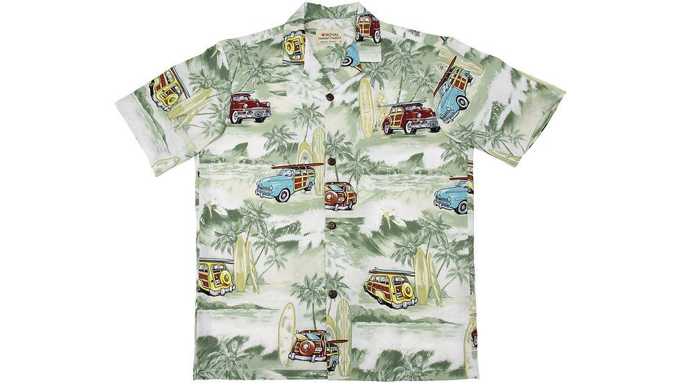 Cotton 100% Green Aloha Shirt [CH-15]