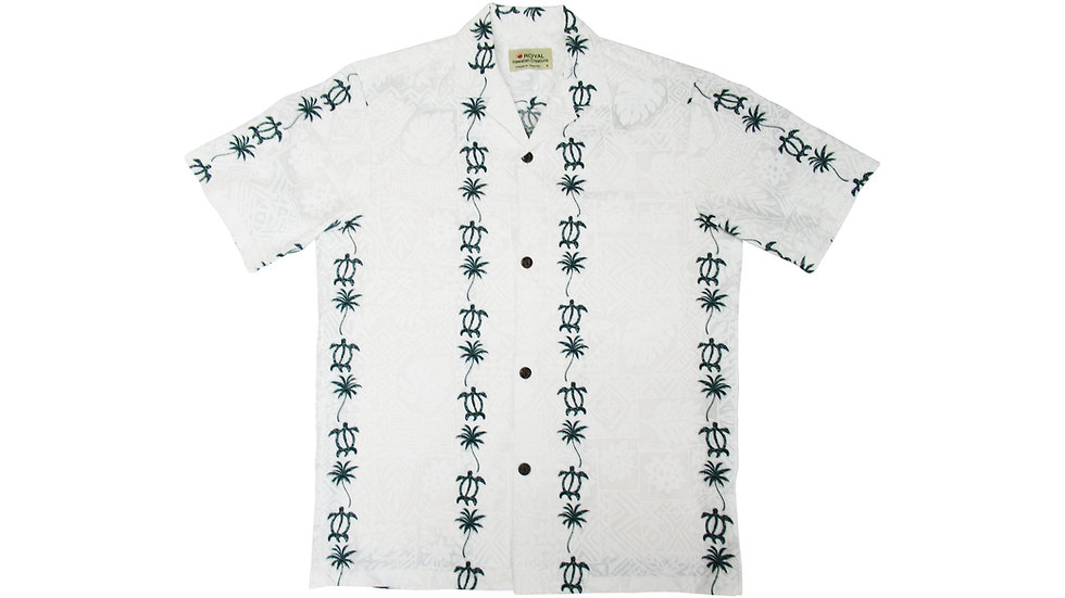 Cotton 100% Green Honu Aloha Shirt [CH-06]