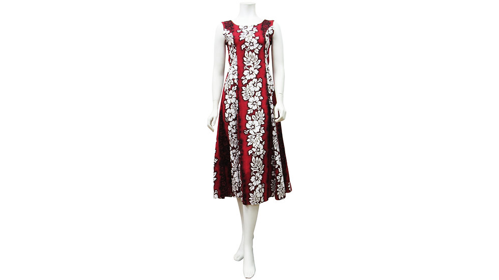 [#27606] Cotton 100% Hibiscus Panel Sylvia Long Dress [CH02]