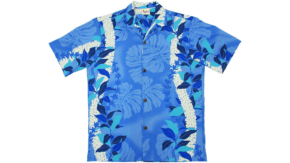 Poly-Cotton Blue Aloha Shirt [T-03]