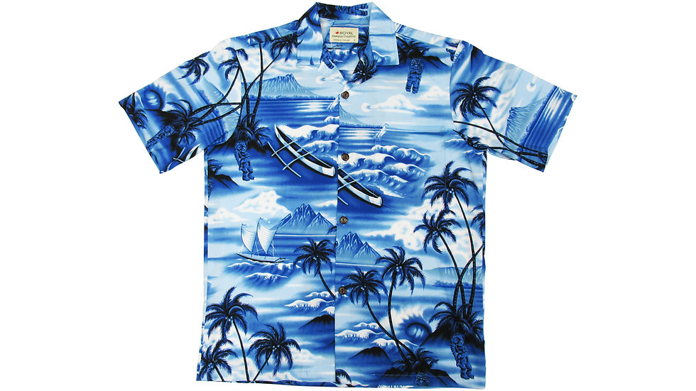 Cotton 100% Blue Aloha Shirt [CH-10]