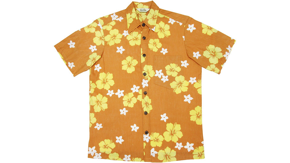 Y-Placket Cotton 100% Orange Aloha Shirt [YH-09]