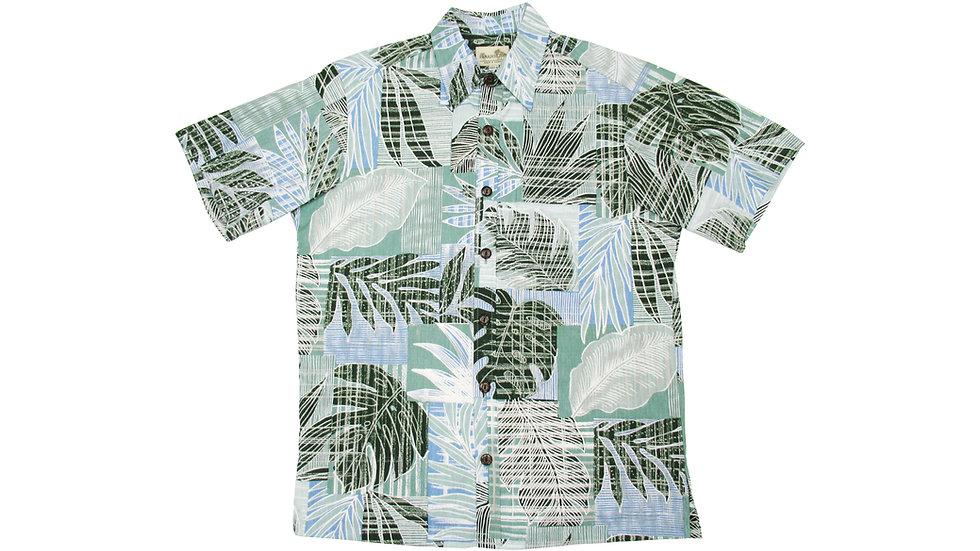 Y-Placket Cotton 100% Sage Aloha Shirt [YH-07]