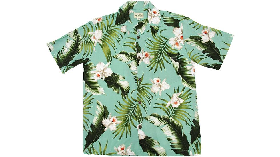 Rayon 100% Green Orchid Aloha Shirt [RH-04]