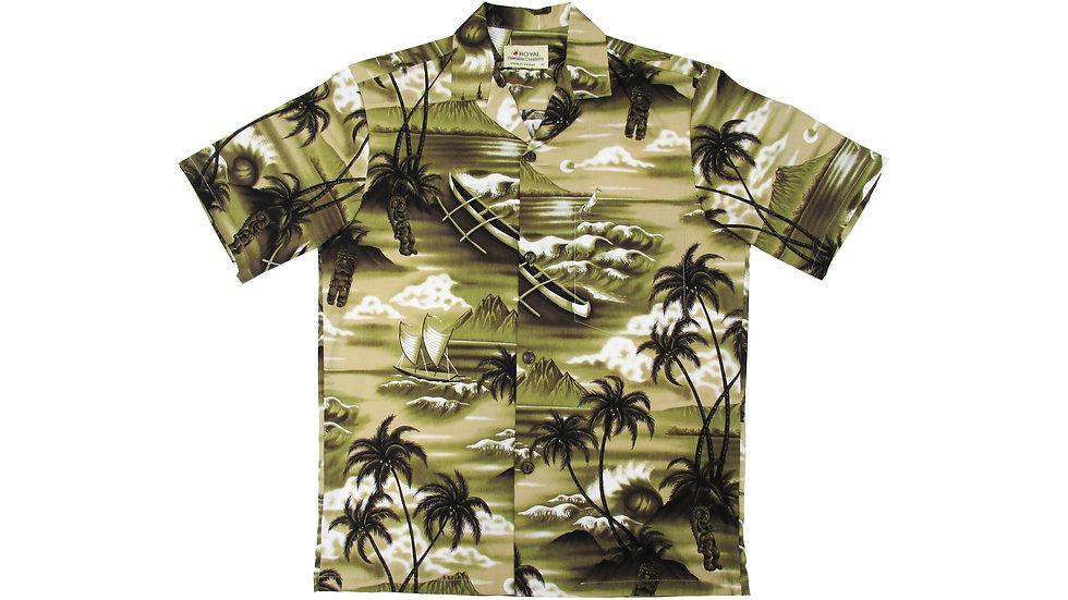 Cotton 100% Gray Aloha Shirt [CH-10]