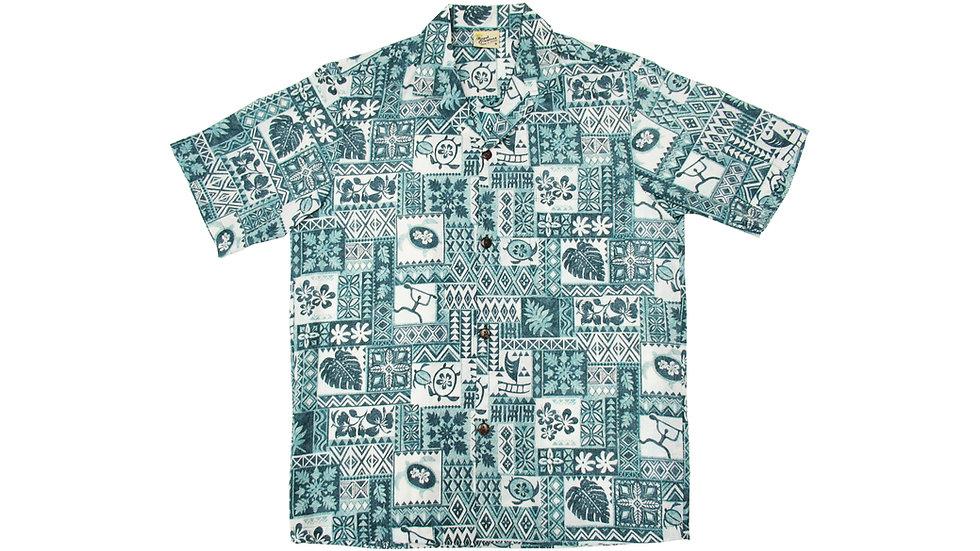 Poly-Cotton Green Aloha Shirt [T-02]