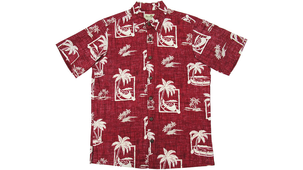 Y-Placket Cotton 100% Red Aloha Shirt [YH-03]