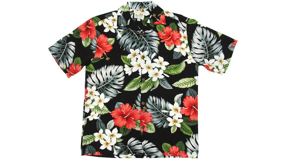 Rayon 100% Black Aloha Shirt [RH-11]