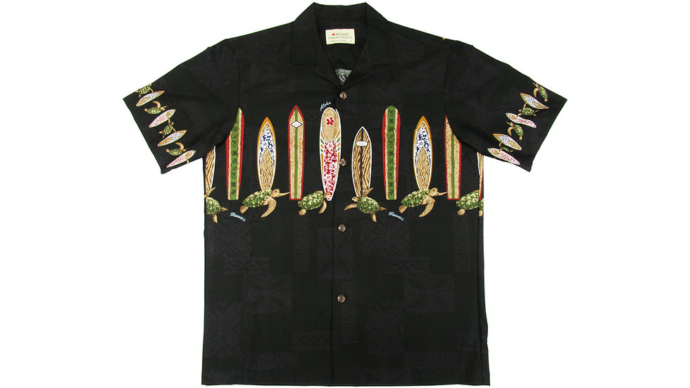 Cotton 100% Black Surf Aloha Shirt [CH-13]