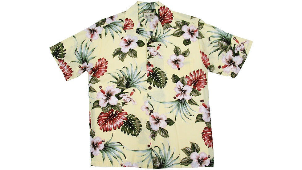 Rayon 100% Yellow Aloha Shirt [RH-05]