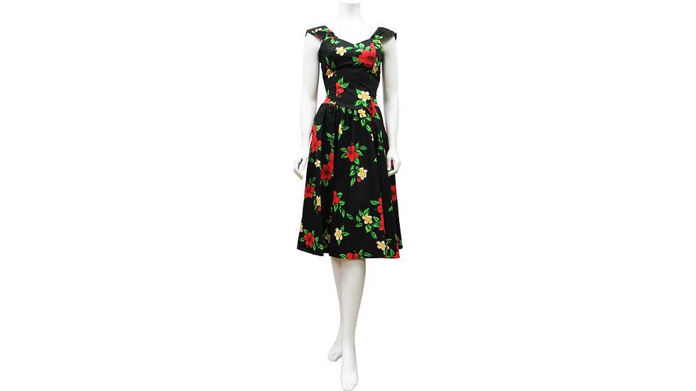 [#24706] Cotton 100% Black Hibiscus Sundress [CH01]