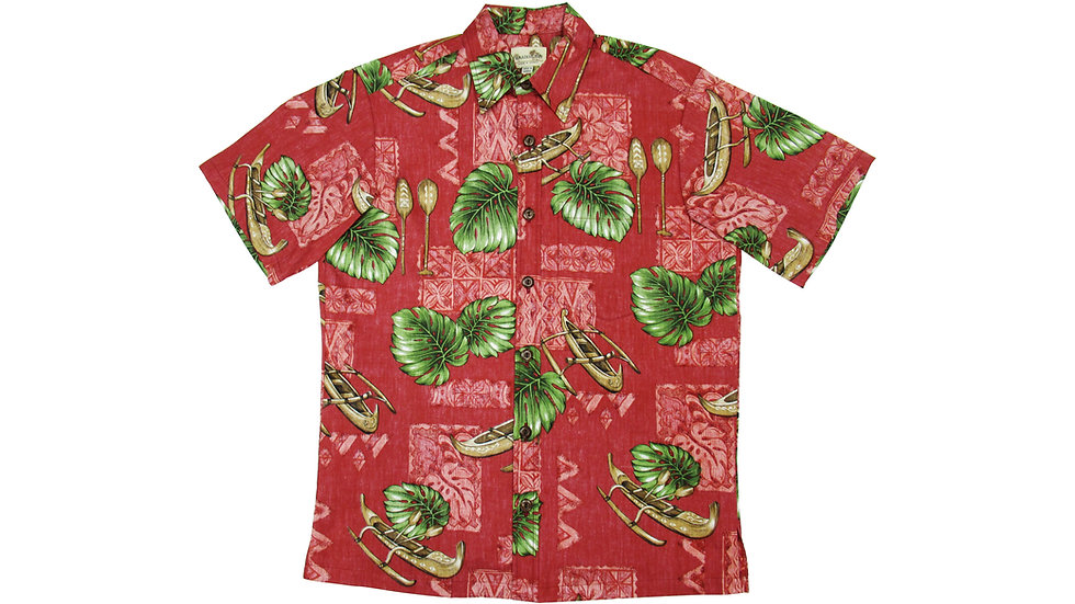 Y-Placket Cotton 100% Red Aloha Shirt [YH-08]