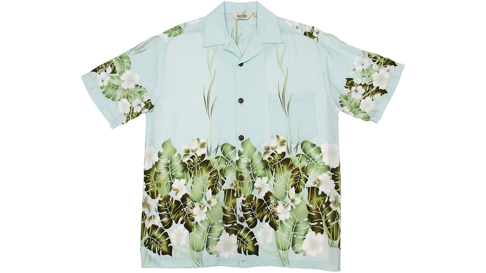 Rayon 100% Blue Aloha Shirt [RH-07]