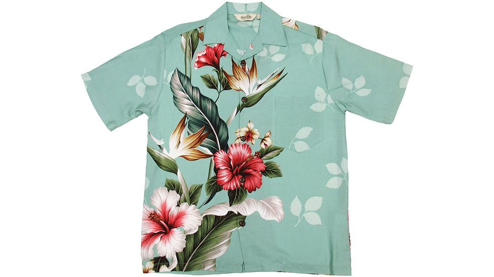 Rayon 100% Green Side Panel Aloha Shirt [RH-08]