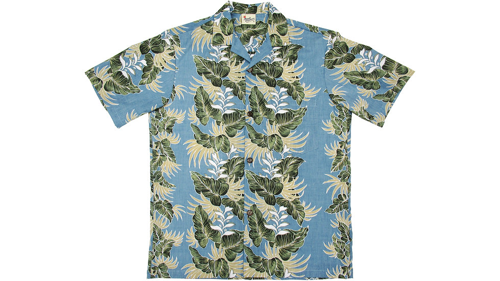 Poly-Cotton Blue Aloha Shirt [T-04]