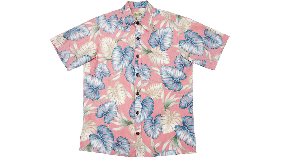 Y-Placket Cotton 100% Pink Aloha Shirt [YH-06]