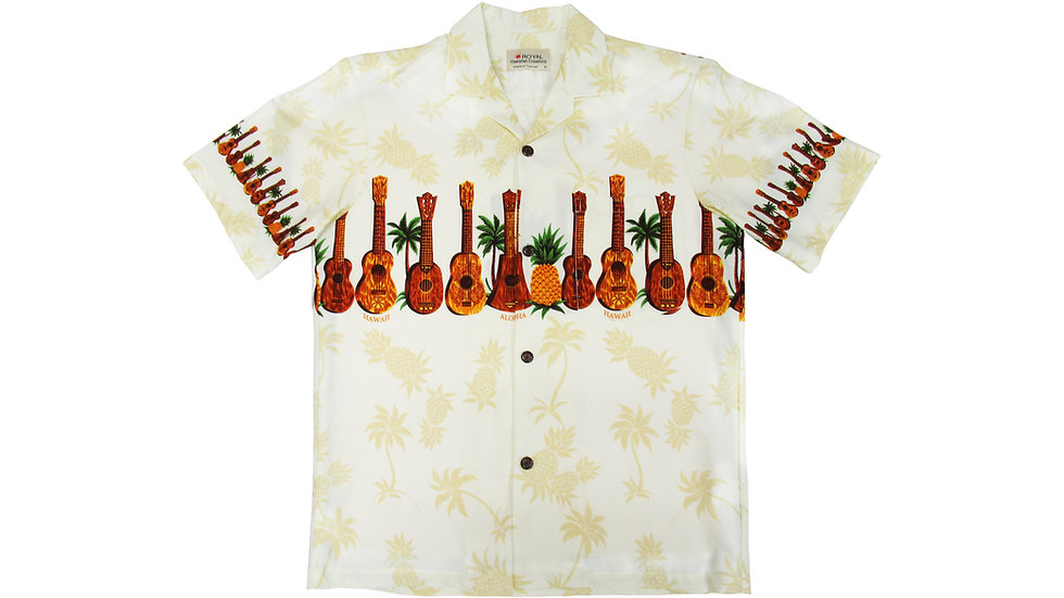 Cotton 100% Yellow Ukulele Aloha Shirt [CH-14]