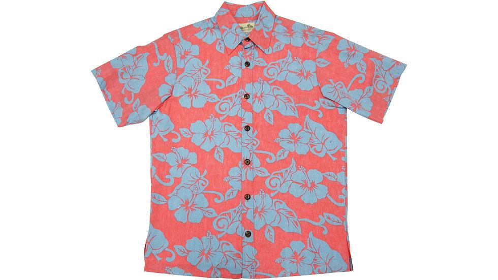 Y-Placket Cotton 100% Pink Aloha Shirt [YH-01]