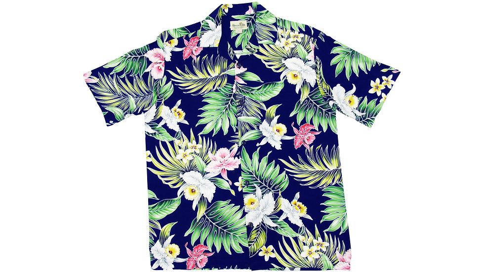 Rayon 100% Navy Aloha Shirt [RH-09]